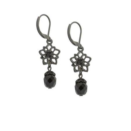 Black-Tone Black Flower Beaded Drop Leverback Earrings