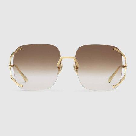 Brown Square metal sunglasses | GUCCI® US