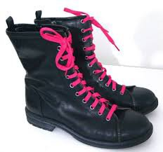 black combat boots with pink laces - Google Search