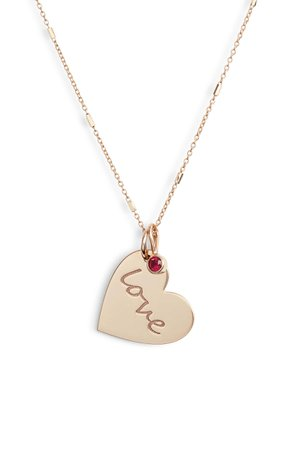 Zoë Chicco Heart with Love Charm Necklace | Nordstrom