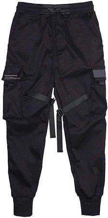 cargo black strap pants