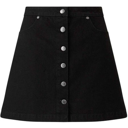 Black Button Jean Skirt