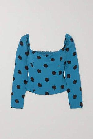 Marjorie Polka-dot Shirred Crepe Blouse - Blue