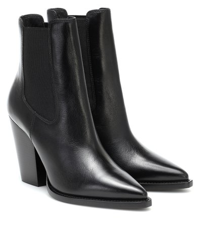 Saint Laurent - Leather ankle boots | Mytheresa
