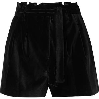 Alice Olivia - Laurine Belted Velvet Shorts - Black