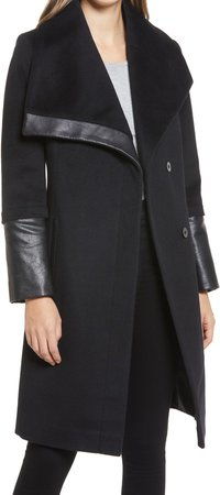 Wool and Faux Leather Coat
