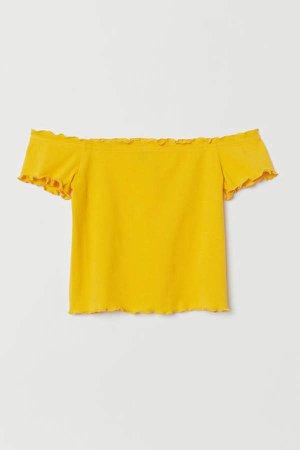 Short Off-the-shoulder Top - Yellow