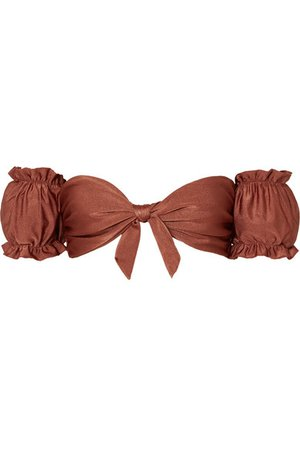 PatBO | Off-the-shoulder metallic bikini top | NET-A-PORTER.COM