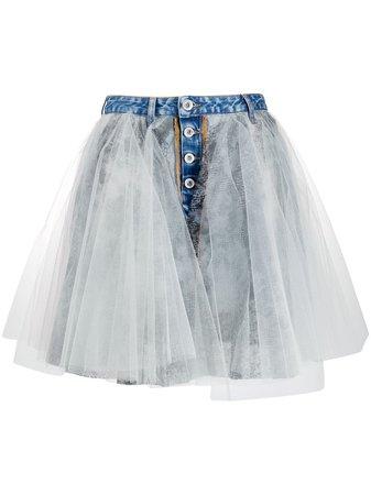 UNRAVEL PROJECT tulle overlay denim skirt blue