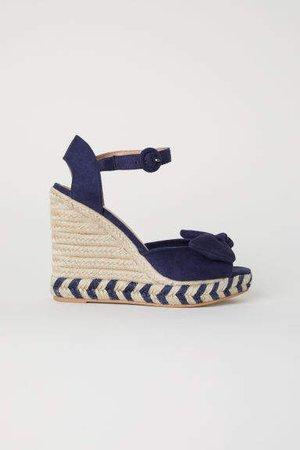 Wedge-heel Sandals - Blue