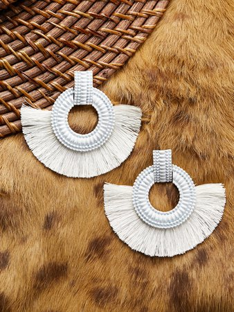 Textured Circle Earrings With Half Fringe Detail | SHEIN
