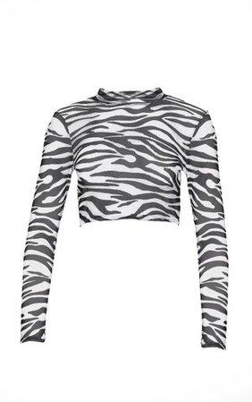 Black Zebra Printed Mesh Top | Tops | PrettyLittleThing