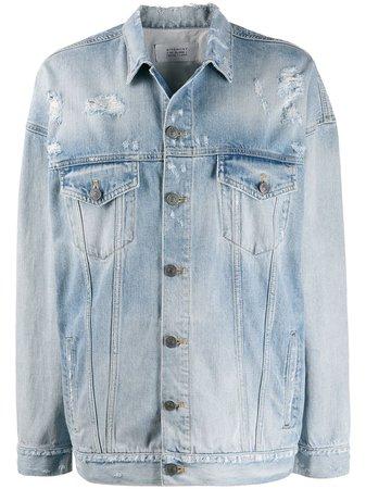Givenchy Oversized Distressed Logo Denim Jacket Ss20 | Farfetch.com