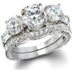Triple Diamond Wedding Ring & Band