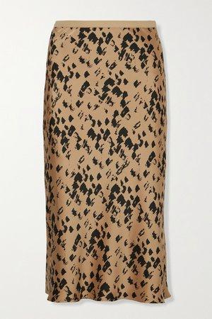 Yellow Bar printed silk-satin midi skirt   Anine Bing   NET-A-PORTER
