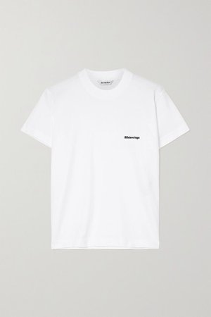Embroidered Cotton-jersey T-shirt - White