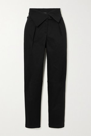 Stretch-cotton Twill Tapered Pants - Black