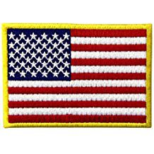 Amazon.co.uk: american flag embroidered patch gold border usa united states of america militar...