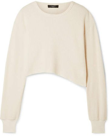 TWENTY Montréal - Everest Cropped Asymmetric Waffle-knit Jersey Top - Cream