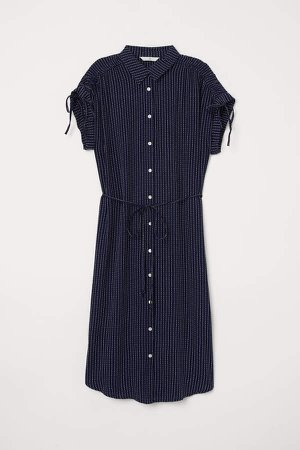 Shirt Dress with Tie Belt - Blue