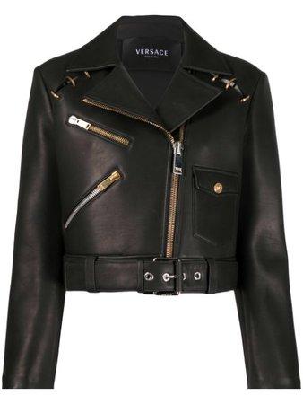 Versace Cropped Biker Jacket - Farfetch