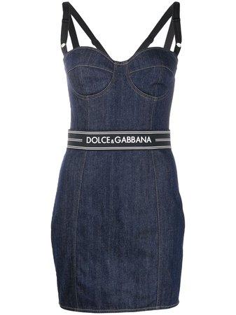 Dolce & Gabbana logo belt denim dress