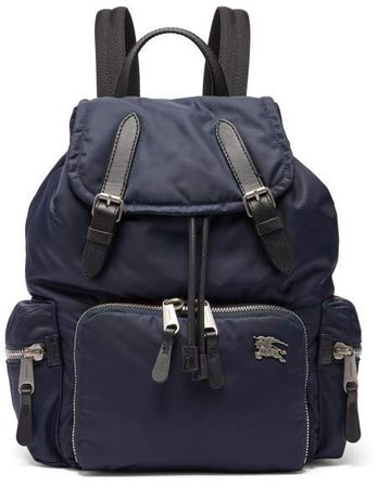 Equestrian Knight Plaque Padded Backpack - Womens - Navy
