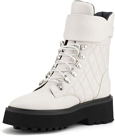 Amazon.com | N / A Westconnex Women Round Toe Ankle Lace Up Waterproof Boots (Cream, 36) | Ankle & Bootie
