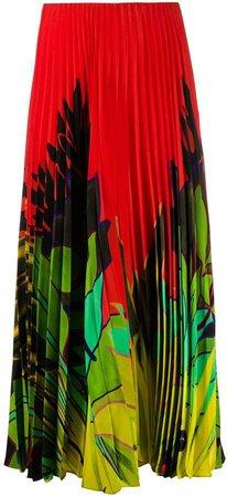 Tropical-Print Pleated Skirt