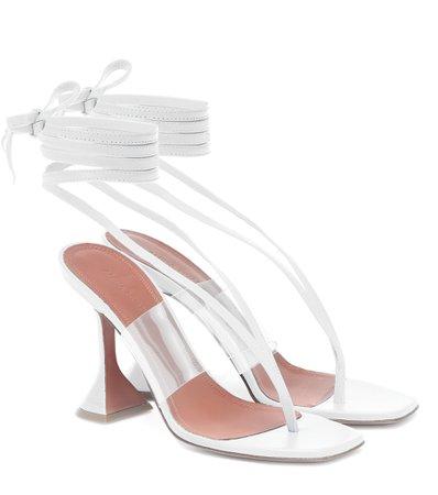 Amina Muaddi - Zula PVC-trimmed leather sandals | Mytheresa