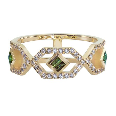 Gianna Half Eternity Band with Green Sapphires and Diamonds in 14k Yellow Gold by GiGi Ferranti