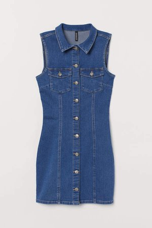 Fitted Denim Dress - Blue