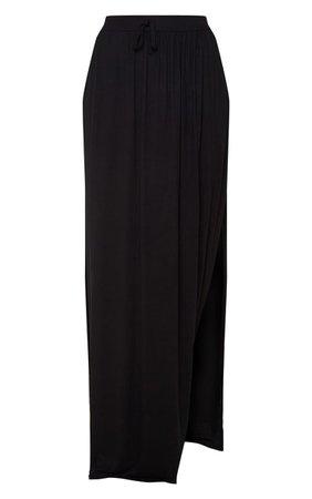 Black Jersey Drawstring Maxi Skirt | Skirts | PrettyLittleThing