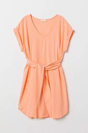Jersey Dress with Tie Belt - Orange