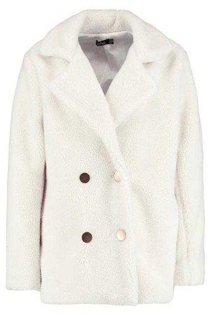 Double Breasted Teddy Coat | Boohoo