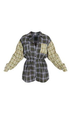 Multi Check Shirt Romper | PrettyLittleThing USA