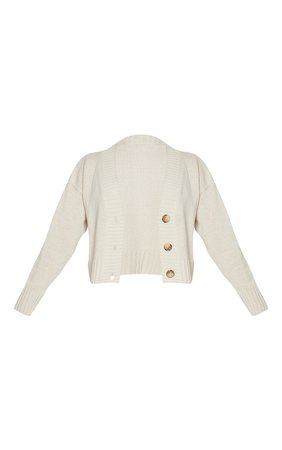 Cream Knitted Button Crop Cardigan | Knitwear | PrettyLittleThing USA