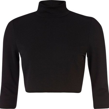 River Island Black turtle neck crop top