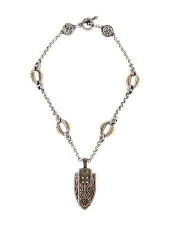 Konstantino Sapphire & Diamond Shield & Cross Pendant Necklace - Necklaces - KON22282 | The RealReal