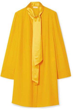 Sophia Pussy-bow Satin-trimmed Silk-crepe Mini Dress - Gold