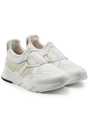 Sneakers with Leather and Woven Detail Gr. IT 40
