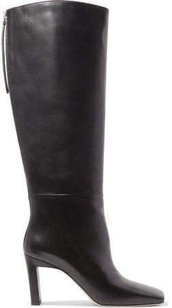 Isa Leather Knee Boots - Black