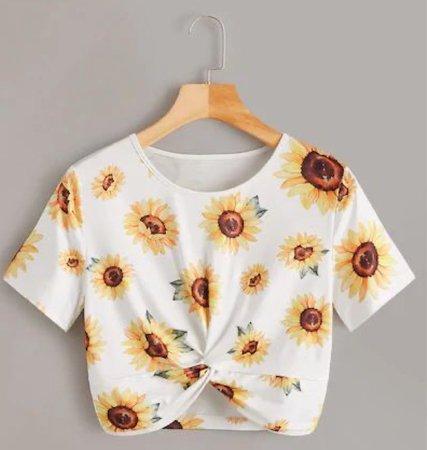 white tee sunflower