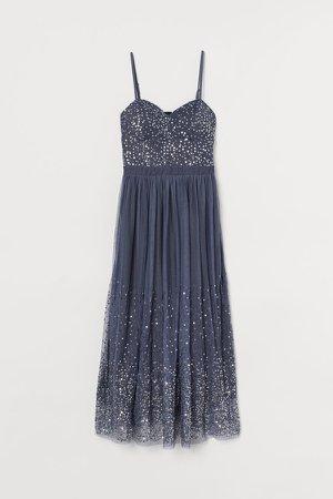 Sequined Mesh Dress - Blue