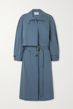 Pleated Cotton-blend Trench Coat - Blue