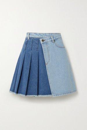 Light denim Maru pleated two-tone denim wrap mini skirt | McQ Alexander McQueen | NET-A-PORTER