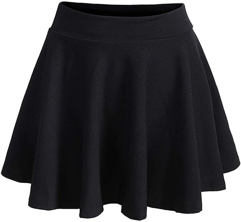 Romwe Women's Plus Size Elastic High Waist A-Line Flared Casual Mini Skater Skirt Black A 4XL at Amazon Women's Clothing store