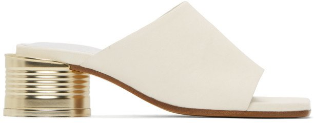 White Can Heel Open Toe Sandals