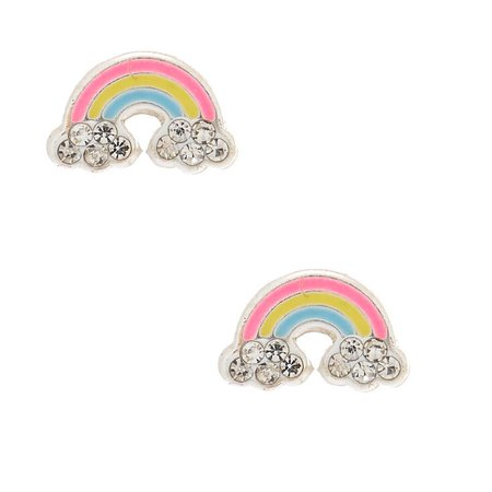 Sterling Silver Rainbow Stud Earrings | Claire's US