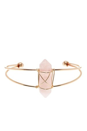 Luxe Group | Rose Quartz Wire-Wrapped Prism Cuff | Nordstrom Rack